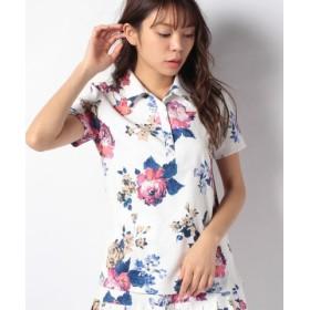 d3d8aeb7c9aa0 (rienda suelta/リエンダスエルタ)【セットアップ対応商品】Vintage Flowerポロシャツ/レディース