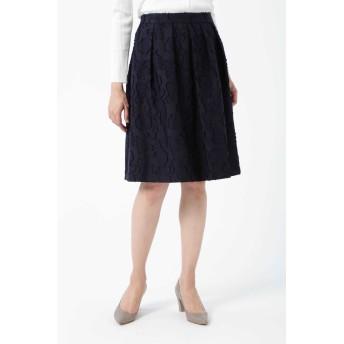 NATURAL BEAUTY カットジャカードスカート ひざ丈スカート,ネイビー3