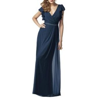 ドレッシーコレクション レディース ワンピース トップス Dessy Collection Sequin Flutter Sleeve Gown Midnight Gold