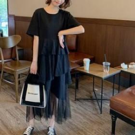 Tシャツワンピース メッシュスカート ティアード 半袖 切り替えデザイン ラウンドネック シンプル 無地 グレー/ブラック