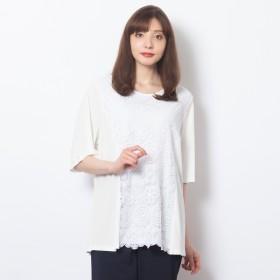 [マルイ]【セール】[大きいサイズ/LL-4L]クールスムース×ケミカルレースドッキングTシャツ/フィットミーモア(Fitme Moi)