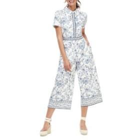 ギャルミーツグラムコレクション レディース ワンピース トップス Gal Meets Glam Collection Border Print Wide Leg Crop Jumpsuit (Reg
