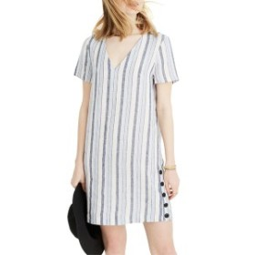 メイドウェル レディース ワンピース トップス Madewell Easy Side Button Linen Dress Jane Stripe Nightfall