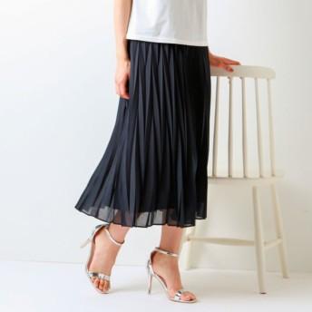 SALE【トランスワーク(TRANS WORK)】 【ウォッシャブル】幾何プリーツスカート ネイビー