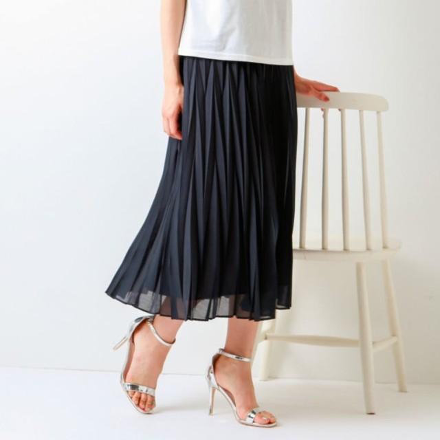 SALE【トランスワーク(TRANS WORK)】 【ウォッシャブル】幾何プリーツスカート 【ウォッシャブル】幾何プリーツスカート ネイビー