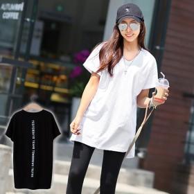 【バックプリントT】バックプリント ロゴ 半袖 Vネック 胸ポケット Tシャツ トップス 体型カバー 韓国ファッション 韓国 ゆるT 大きいサイズ