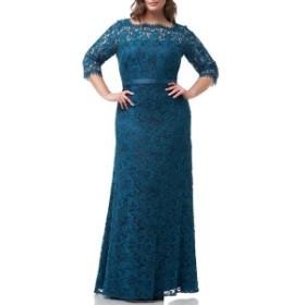 ジェイエスコレクションズ レディース ワンピース トップス JS Collections Bateau Neck Lace Gown (Plus Size) Turquoise Navy