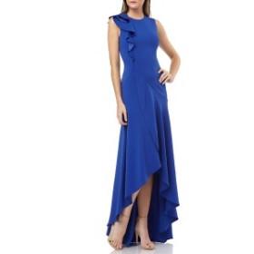 カルメンマークバルボ レディース ワンピース トップス Carmen Marc Valvo Infusion Ruffle Shoulder High/Low Gown Cobalt
