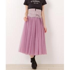 ミッシュマッシュ ベルト付きチュールスカート レディース 紫系 S 【MISCH MASCH】