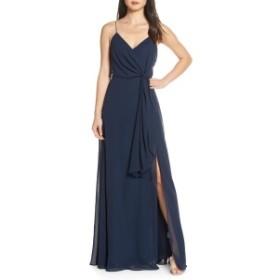 ジェニーヨー レディース ワンピース トップス Jenny Yoo Amara Chiffon Overlay V-Neck Evening Dress Navy