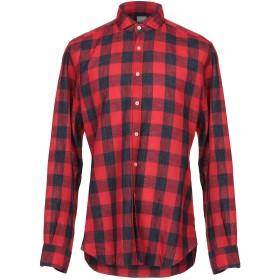 《セール開催中》XACUS メンズ シャツ レッド 42 麻 63% / コットン 37%