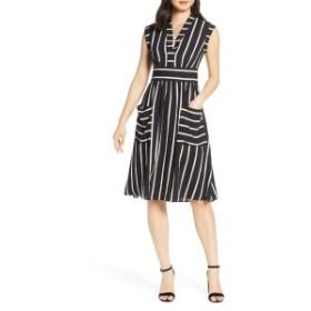 ヴィンスカムート レディース ワンピース トップス Vice Camuto Stripe Crepe Fit & Flare Dress Black Multi