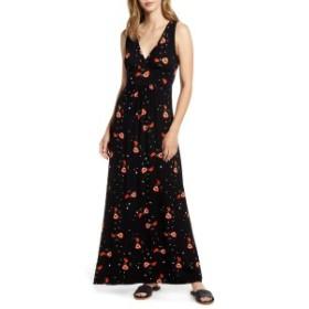 ロベアペラ レディース ワンピース トップス Loveappella Surplice Floral Jersey Maxi Dress Black/ Red