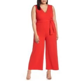 ライス レディース ワンピース トップス Leith Deep V-Neck Jumpsuit (Plus Size) Red Scarlet