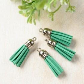 ミニタッセル シルバーキャップ 緑 グリーン 4個 ピアス イヤリング パーツ ハンドメイド 材料