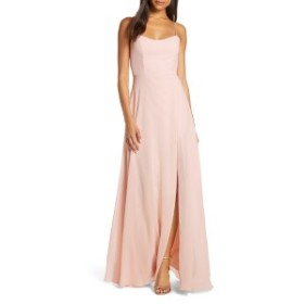 ジェニーヨー レディース ワンピース トップス Jenny Yoo Kiara Bow Back Chiffon Evening Dress Soft Blush