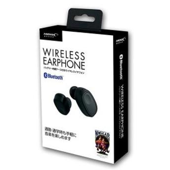 Bluetoothリアルワイヤレスイヤフォン ハンズフリー HI-DISC ハイディスク 音楽再生/通話時間2.5h バッテリー内蔵ケース付 ブラック HDBT