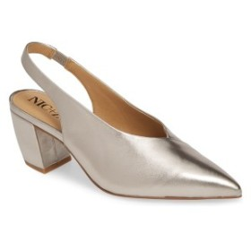 ニックプラスゾーイ レディース パンプス シューズ NIC+ZOE Camille Slingback Pointy Toe Pump (Women) Pewter Leather