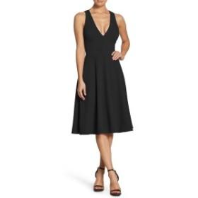 ドレスザポプレーション レディース ワンピース トップス Dress the Population Catalina Tea Length Fit & Flare Dress Black