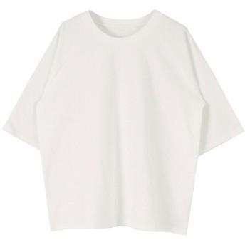 ティティベイト titivate オーバーサイズラグランスリーブコットンTシャツ (ホワイト)