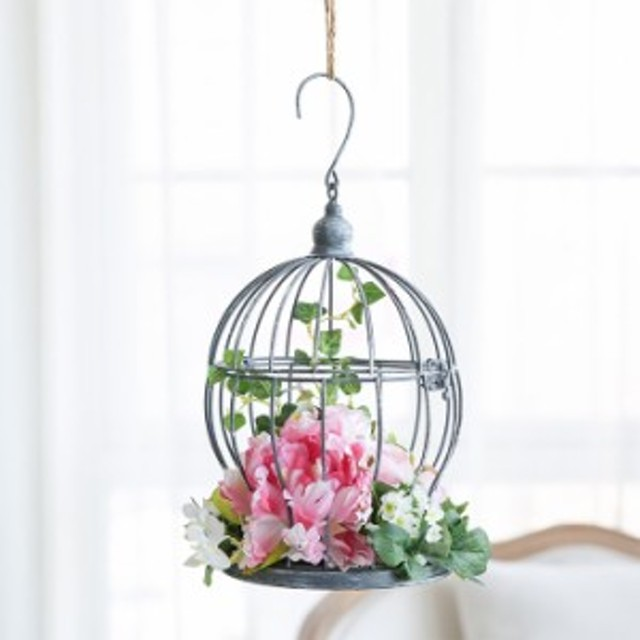MIZ 吊るすインテリア アレンジ済 鳥かご風オブジェ 造花セット フラワーアレンジメント SetL ANNAシリーズ