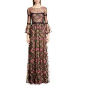 マルケサノット レディース ワンピース トップス Marchesa Notte Embroidered Long Sleeve Gown Black