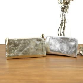 【ミラーゴールド】上品かつ高級感のある薄マチ軽量で大きく使えるL字財布/L字長財布【ユニセックス】
