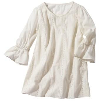 綿100%レースチュニックブラウス(薄手素材) (大きいサイズレディース)チュニック,plus size