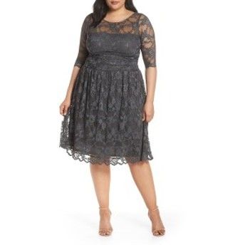 キヨナ レディース ワンピース トップス Kiyonna Luna Lace A-Line Dress (Plus Size) Twilight Grey