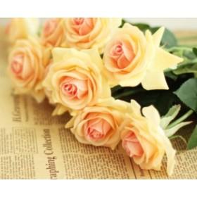 MIZ 造花 パーツ フラワーアレンジ ハンドメイド 保湿質感 バラ 15本 クリームオレンジ