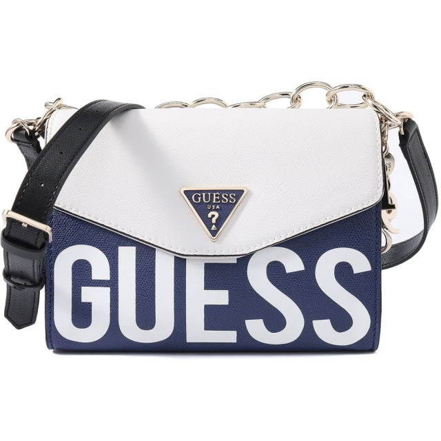 ゲス GUESS MADDY CROSSBODY FLAP (NAVY MULTI)