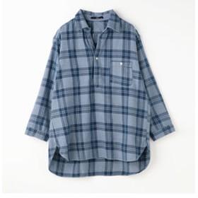 【NICOLE:トップス】チェック柄ワイドシルエットシャツ