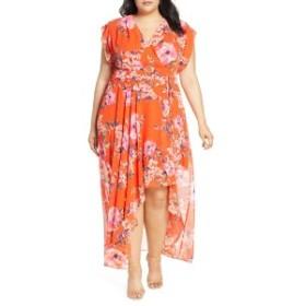エリザジェイ レディース ワンピース トップス Eliza J Floral Print Chiffon High/Low Dress (Plus Size) Orange