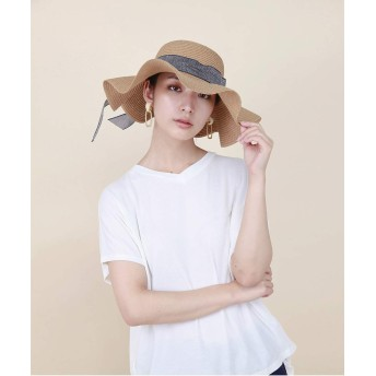 麦わら・ストローハット・カンカン帽 - aimoha つば広ハット 麦わら帽子 レディース つば広 つば広ハット 紫外線対策 つば広帽子 夏 運動会 旅行