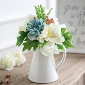 MIZ アレンジ不要 手軽な造花インテリア花器セット オブジェ セラミックポット型 フラワーアレンジメント 造花