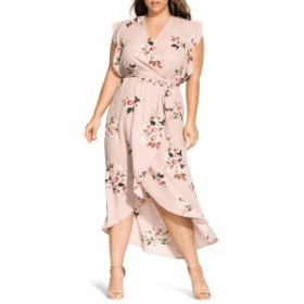 シティーシック レディース ワンピース トップス City Chic Rose Play Wrap Maxi Dress (Plus Size) Rose Play