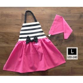 ガーリーなリボンエプロン L[120-140] 三角巾セット ピンクとボーダー