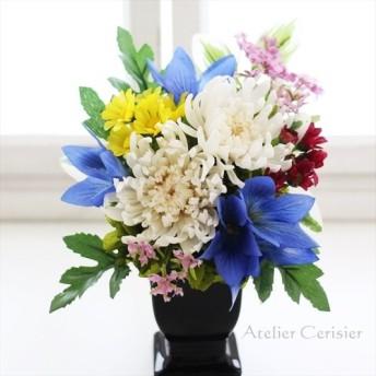 【個数限定割引】大輪白菊と桔梗の仏花 お供え花 プリザーブドフラワー