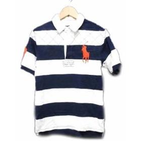 【中古】ラルフローレン RALPH LAUREN ポロシャツ カットソー ボーダー ビッグポニー 半袖 L(14-16) 紺 ネイビー 白