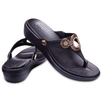 【クロックス公式】 サンラ ディアマンテ ウェッジ フリップ ウィメン Women's Sanrah Embellished Diamante Wedge Flip ウィメンズ、レディース、女性用 ブラック/黒 21cm,22cm,23cm,24cm,25cm wedge
