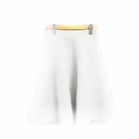 未使用品 プロポーション ボディドレッシング  スカート フレア ひざ丈 アンゴラ混 ナイロン混 2 グレー