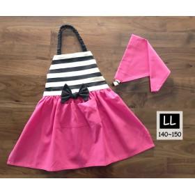 ガーリーなリボンエプロン LL[140-150] 三角巾セット ピンクとボーダー