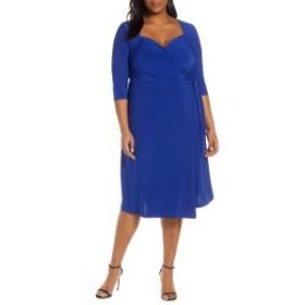 キヨナ レディース ワンピース トップス Kiyonna Sweetheart Neck Wrap Dress (Plus Size) Cobalt Blue