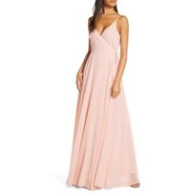 ジェニーヨー レディース ワンピース トップス Jenny Yoo James Sleeveless Wrap Chiffon Evening Dress Soft Blush