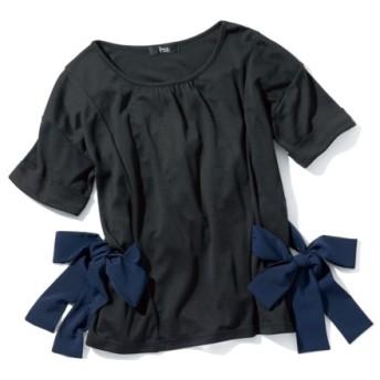 ゆるシルエットサイドリボンカットソートップス (大きいサイズレディース)Tシャツ・カットソー