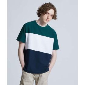 アバハウス 3段配色JQDボーダー半袖Tシャツ メンズ グリーン 46 【ABAHOUSE】