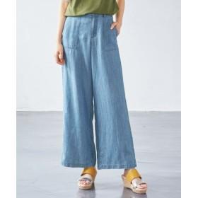 リヨセル混デニムベイカーパンツ (大きいサイズレディース)パンツ,plus size