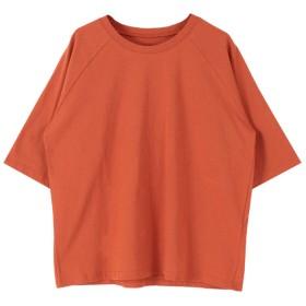 ティティベイト titivate オーバーサイズラグランスリーブコットンTシャツ (オレンジ)