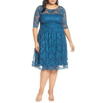 キヨナ レディース ワンピース トップス Kiyonna Luna Lace A-Line Dress (Plus Size) Crazy About Blue