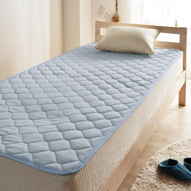 布団カバー シーツ 敷きパッド パッドシーツ 綿100%ソフトパイルの置く楽敷きパッド カラー 「ブルー」
